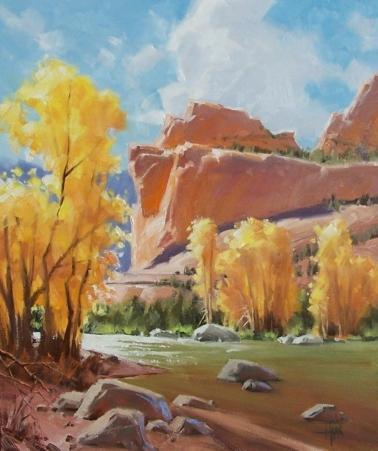 "Oak Creek Autumn - Sedona 24"" x 20"" oil painting by Tom Haas"
