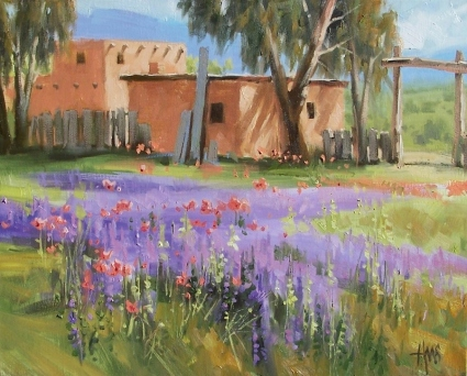 "Lavender-Side of Poppies 16"" x 20"" oil painting by Tom Haas"