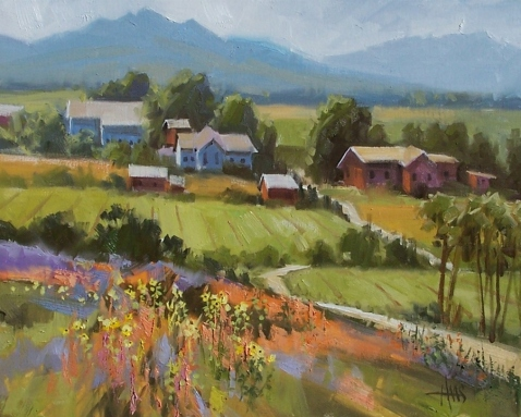 """Mr Greenjeans Farm 16"""" x 20"""" oil painting by Tom Haas"""