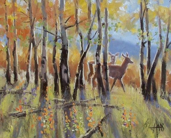 """Rustling Leaves 16"""" x 20"""" oil painting by Tom Haas"""