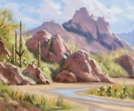 "Brief Desert Spring 20"" x 24"" oil painting by Tom Haas"