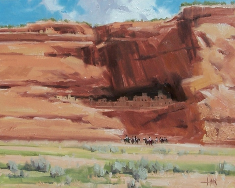 """Canyon Life - Canyon de Chelly, Arizona 16"""" x 20"""" oil painting by Tom Haas"""