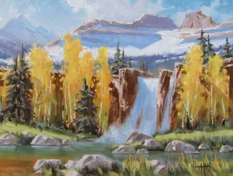 """Eagle Falls - Cimarron, Colorado 18"""" x 24"""" oil painting by Tom Haas"""