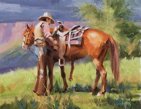 "Good Ol' Girl 11"" x 14"" oil painting by Tom Haas"