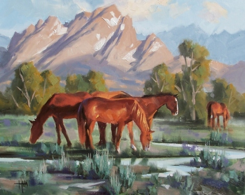 "Jackson Valley Mares - Jackson Hole, Wyoming 16"" x 20"" oil painting by Tom Haas"
