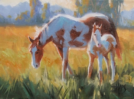 "Newborn 9"" x 12"" oil painting by Tom Haas"