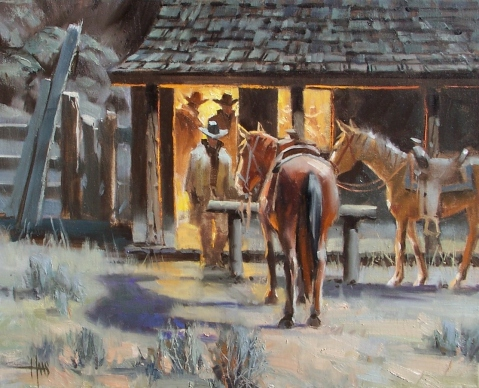 """Poker Night 16"""" x 20"""" oil painting by Tom Haas"""