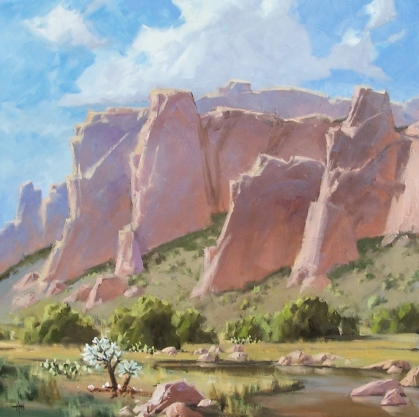 """Sandstone Cliffs I 36"""" x 36"""" oil painting by Tom Haas"""