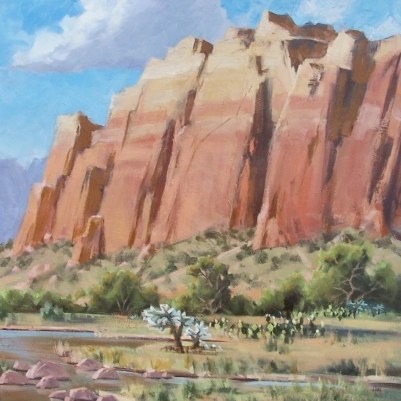 "Sandstone Cliffs II 36"" x 36"" oil painting by Tom Haas"