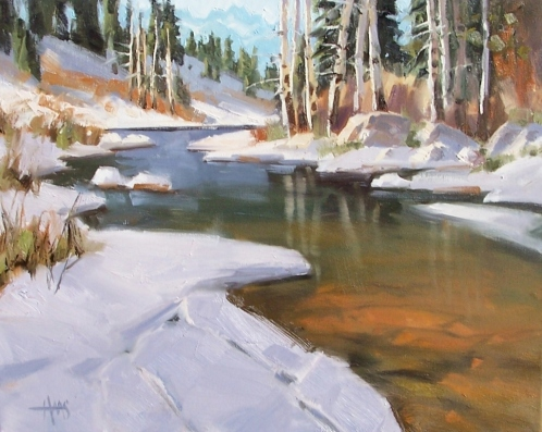 "Spring Thaw 16"" x 20 oil painting by Tom Haas"
