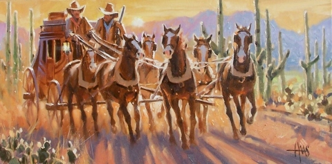 """Early Start 12"""" x 24"""" oil painting by Tom Haas"""