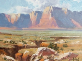 """Across Marble Canyon - Vermillion Cliffs, Arizona 11"""" x 14"""" oil painting by Tom Haas"""