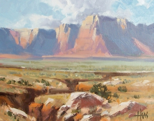 "Across Marble Canyon - Vermillion Cliffs, Arizona 11"" x 14"" oil painting by Tom Haas"