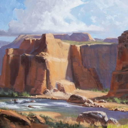 """Canyon 48"""" x 48"""" oil painting by Tom Haas"""