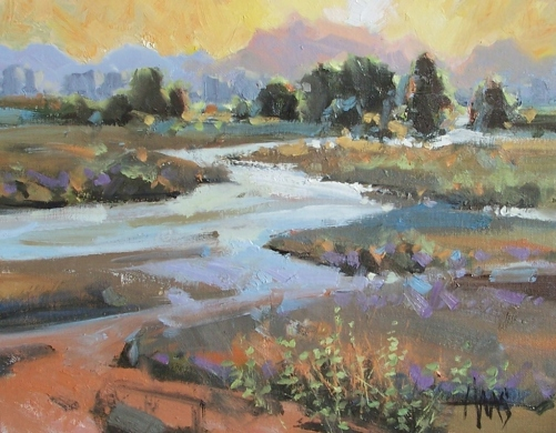 """Downstream 11"""" x 14"""" oil painting by Tom Haas"""