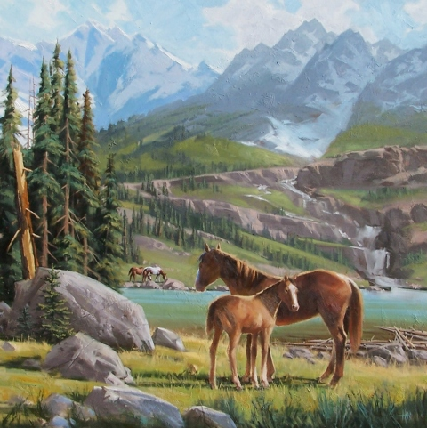 "High Country 48"" x 48"" oil painting by Tom Haas"