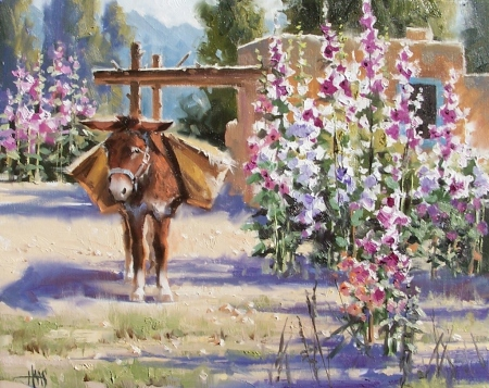 "Hollyhock Courtyard 16"" x 20"" oil painting by Tom Haas"