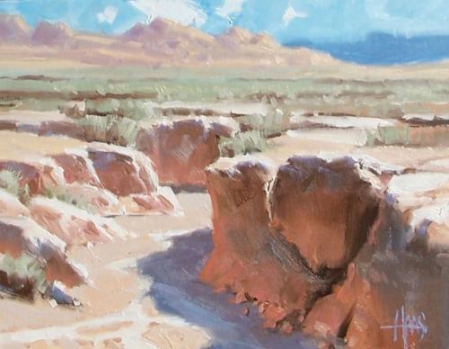 "Thirsty Creek - east of Phoenix, Arizona 11"" x 14"" oil painting by Tom Haas"