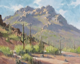 """Trail to the Summit - Piestewa Peak 16"""" x 20"""" oil painting by Tom Haas"""