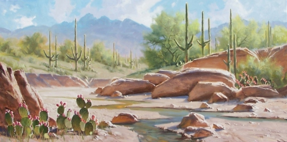 "Sonoran Desert - Arizona 36"" x 72"" oil painting by Tom Haas"