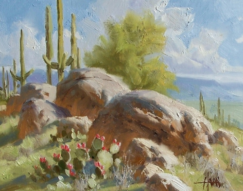 "Ridge View - Salt River Valley, Arizona 11"" x 14"" oil painting by Tom Haas"