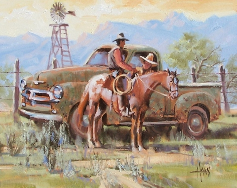 """Fence Line News 16"""" x 20"""" oil painting by Tom Haas"""