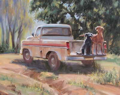"Ready to Go - Sam and Weasel 16"" x 20"" oil painting by Tom Haas"