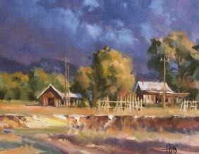 """Heavy Clouds 11"""" x 14"""" oil painting by Tom Haas"""