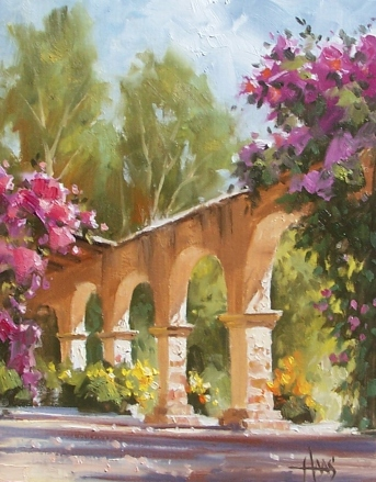 """Spanish Arches 14"""" x 11"""" oil painting by Tom Haas"""