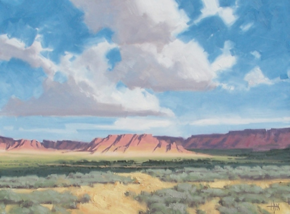 "Windswept Clouds - Navajo Country west of Kayenta Arizona 30"" x 40"" oil paintings by Tom Haas"