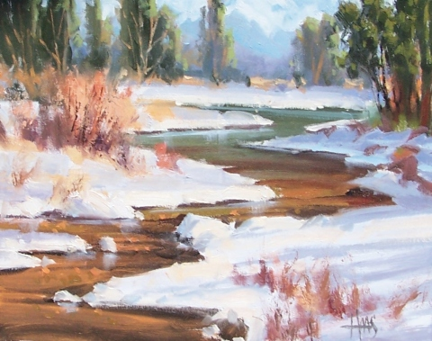 """Colorado Snow 11"""" x 14"""" oil painting by Tom Haas"""