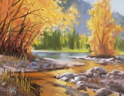 """West Fork - Oak Creek, Sedona 11"""" x 14"""" oil painting by Tom Haas"""