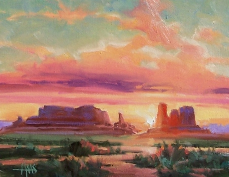 """Day's End - Monument Valley 11"""" x 14"""" oil painting by Tom Haas"""