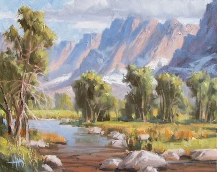 """Moose Creek - Wyoming 16"""" x 20"""" oil painting by Tom Haas"""