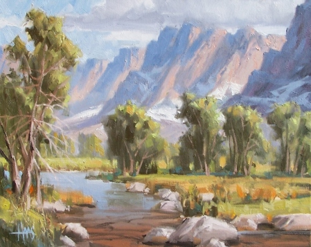 "Moose Creek - Wyoming 16"" x 20"" oil painting by Tom Haas"