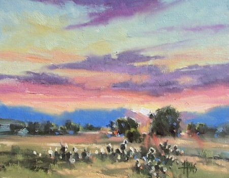 """Southwest Sunrise 11"""" x 14"""" oil painting by Tom Haas"""