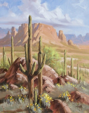 "Sonoran Spring - Arizona 16"" x 20"" oil painting by Tom Haas"