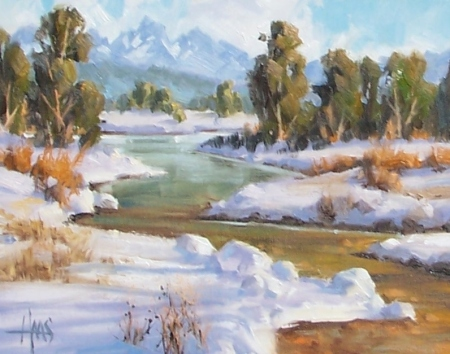 """Trout Creek - New Mexico 11"""" x 14"""" oil painting by Tom Haas"""
