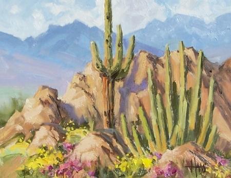 "Pipe Music - Arizona 11"" x 14"" oil painting by Tom Haas"