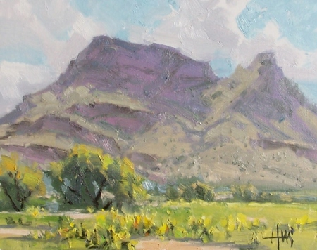 "Lookout Mountain 11"" x 14"" oil painting by Tom Haas - Arizona plein air Dec. 2018"