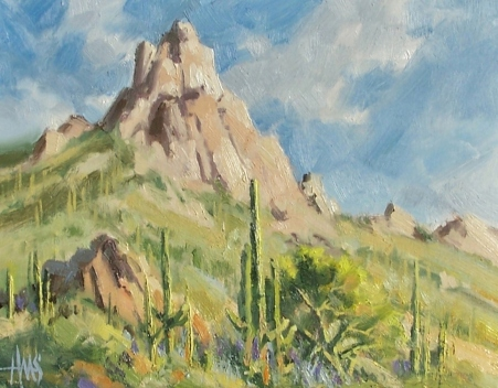 "Pinnacle Peak 11"" x 14"" oil painting by Tom Haas - Arizona plein air Dec. 2018"