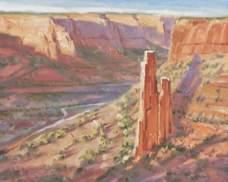 """Ancient Echo - Spider Rock, Canyon de Chelly - Arizona 16"""" x 20"""" oil painting by Tom Haas"""