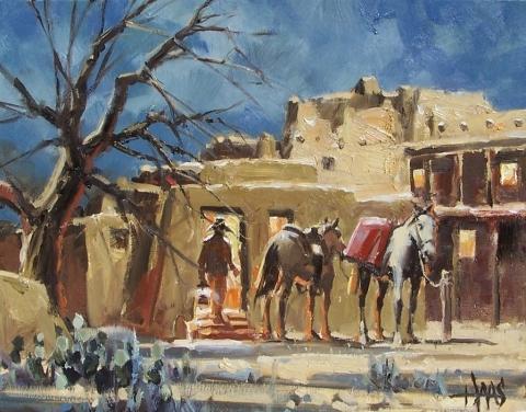 "Hacienda Welcome 11"" x 14"" oil painting by Tom Haas"
