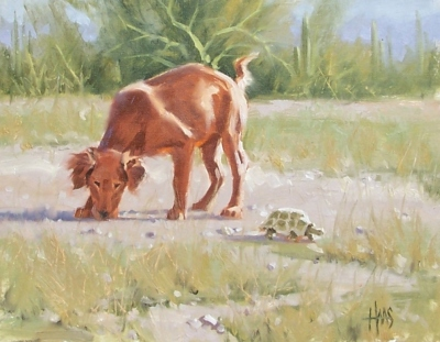 """The Rock that Moves (Sam and turtle) 11"""" x 14"""" oil painting by Tom Haas"""