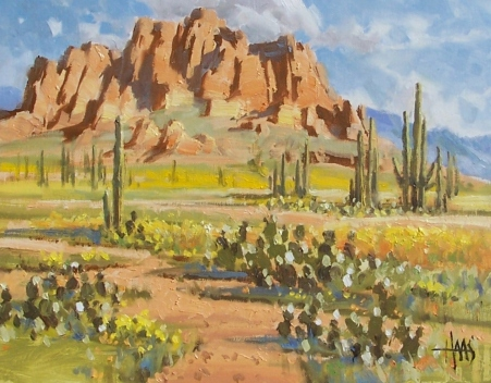 """After the Rain - Superstition Mountains Arizona 11"""" x 14"""" oil painting by Tom Haas"""