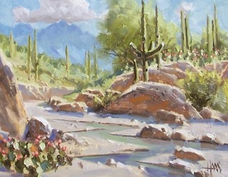 """Below Four Peaks - Arizona 11"""" x 14"""" oil painting by Tom Haas"""