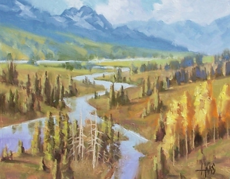 "Teton Range 11"" x 14"" oil painting by Tom Haas"