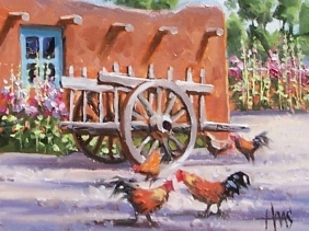 "Chimayo Farm - New Mexico 8"" x 10"" oil painting by Tom Haas"