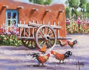 """Chimayo Farm - New Mexico 8"""" x 10"""" oil painting by Tom Haas"""