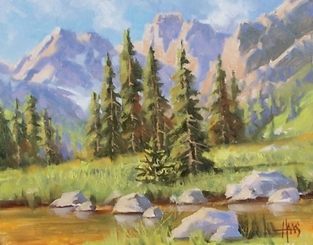 """Bubbling Brook - Wyoming 11"""" x 14"""" oil painting by Tom Haas"""